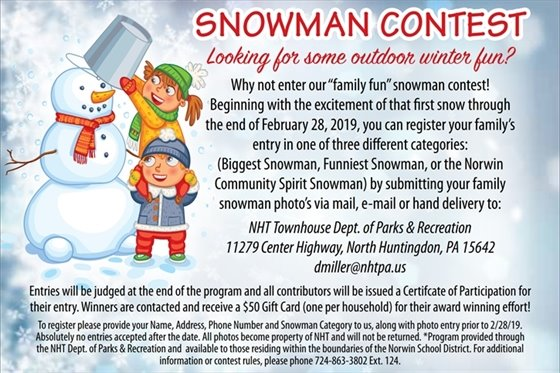 Snowman Contest Announcement Entries Due February 28, 2019